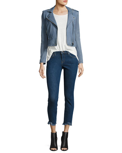 Ashville Cropped Leather Jacket & Jarod Cropped Mid-Rise Skinny Jeans
