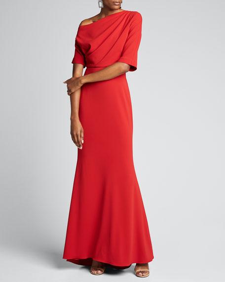 Asymmetric One-Shoulder Elbow-Sleeve Column Gown
