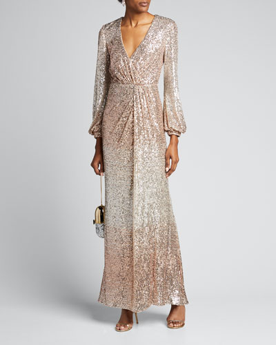 Ombre Sequin Long-Sleeve Drape Gown