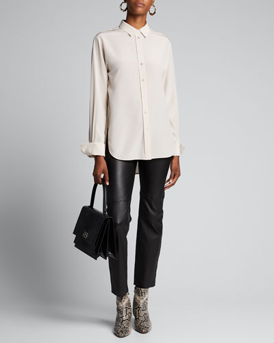 Joe Crepe de Soie Button-Down Blouse