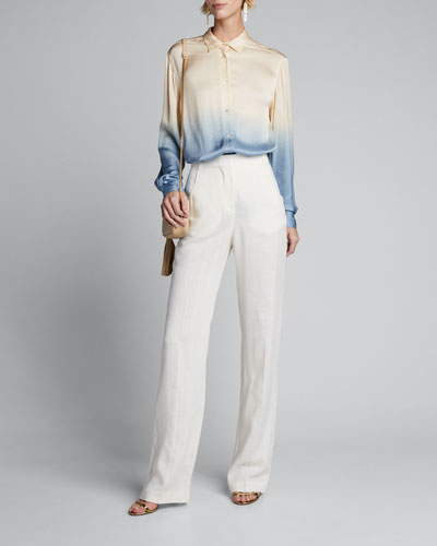 Dip-Dyed Satin Button-Down Shirt