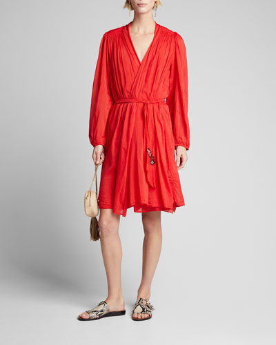 Cotton-Silk Voile Long-Sleeve Wrap Dress