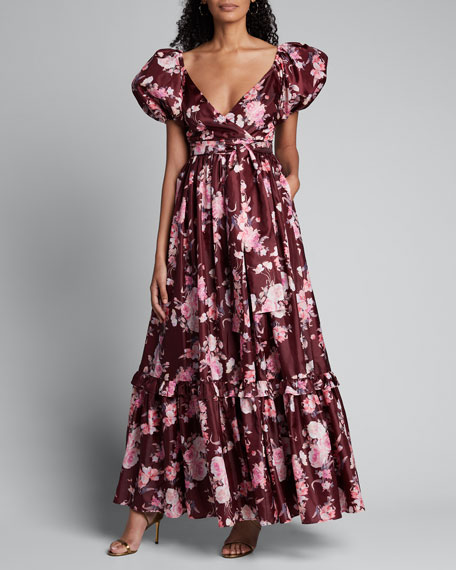 Ida Puff-Sleeve Floral Long Dress