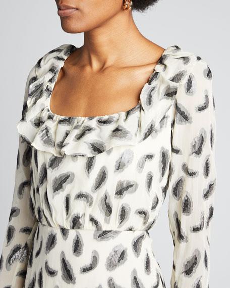 Tilly Long-Sleeve Floral Silk Mini Dress