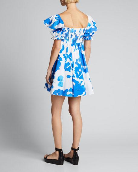 Hana Smocked Flutter-Sleeve Dress