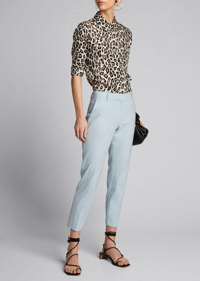 Button-Front Long-Sleeve Straight Silk Shirt