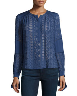 Long-Sleeve Embroidered Silk Top, Amethyst Shadow