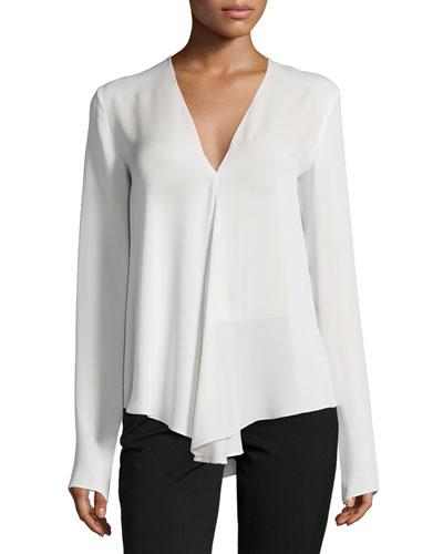Meniph Long-Sleeve Silk Top