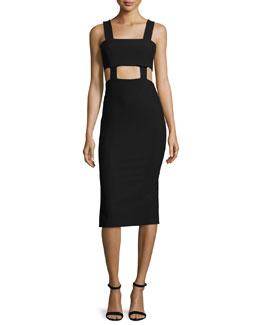 Celeste Cutout Midi Dress, Black