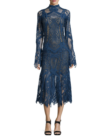 Jonathan Simkhai Lace Mock-Neck Midi Flare Dress, Navy