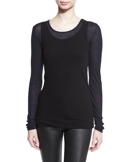 Image 1 of 1: Brett Long-Sleeve Layered Top