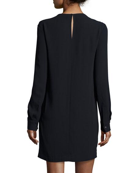 Tate Mesh-Trim Shift Dress, Black