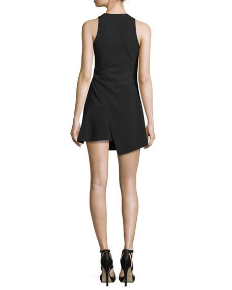 Orion Faux-Wrap Mini Dress, Black