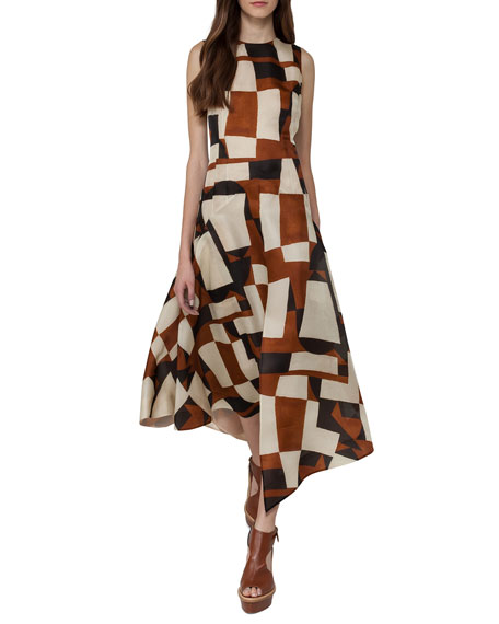 Venetian-Print Organza Midi Dress, Brown/White