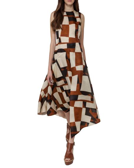 Venetian-Print Organza Midi Dress, Brown/White