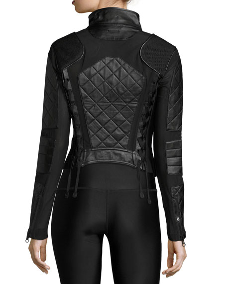 Blanc Noir Quilted Leather Mesh Moto Jacket
