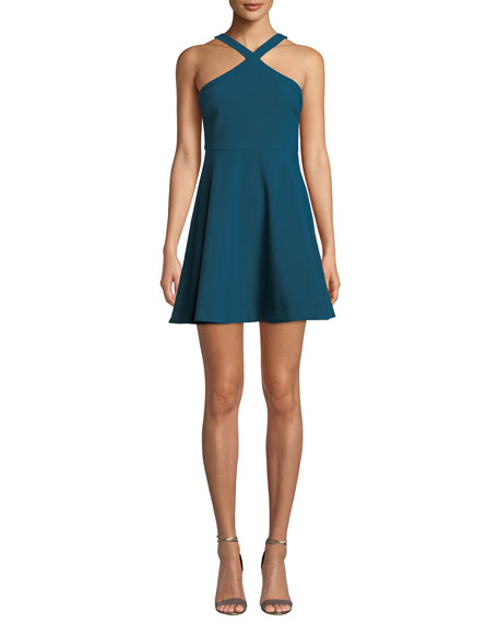 Image 1 of 1: Ashland Halter Sleeveless Fit-and-Flare Short Dress