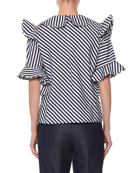 Short-Sleeve Striped Ruffle-Trim Poplin Top, White/Blue