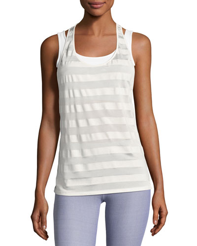 Striped Racerback Athletic Tank Top  White Pattern