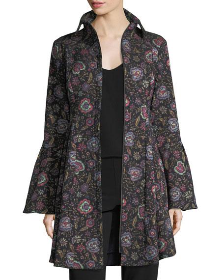 Floral-Jacquard Zip-Front Topper Coat