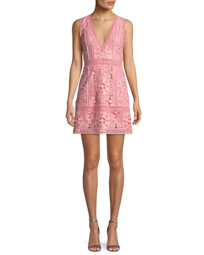 Zula Sleeveless V-Neck Lace Mini Party Dress