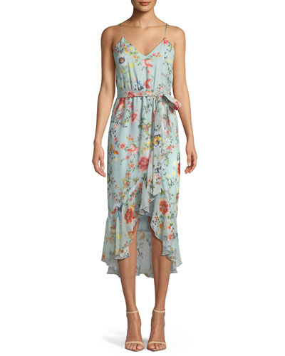 Mable Mock-Wrap Floral-Print Silk Chiffon Dress