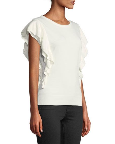Cascade-Sleeve Knit Top
