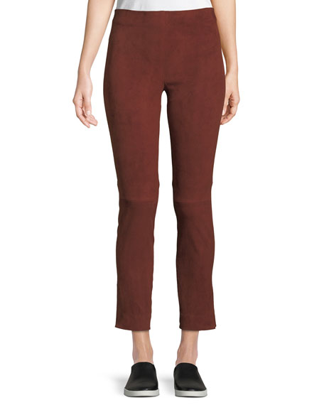 Image 1 of 1: Stretch-Suede Split Hem Crop Pants