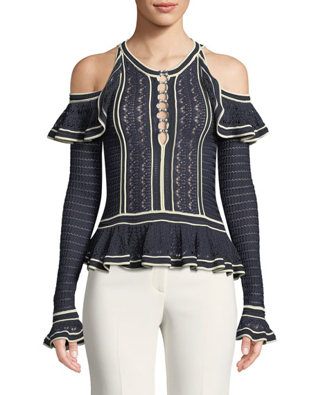 Jonathan Simkhai Slinky Knit Cold-Shoulder Pearl Blouse