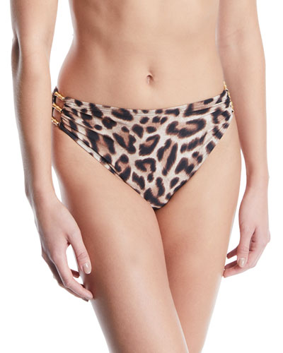 Cutout Leopard High-Waisted Bikini Bottom
