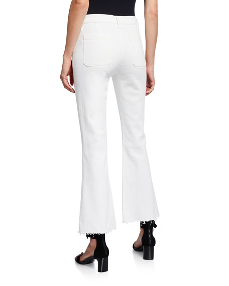 Le Bardot Cropped Flare Raw-Edge Jeans