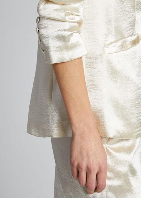 Kylie Ruched-Sleeve Satin Blazer
