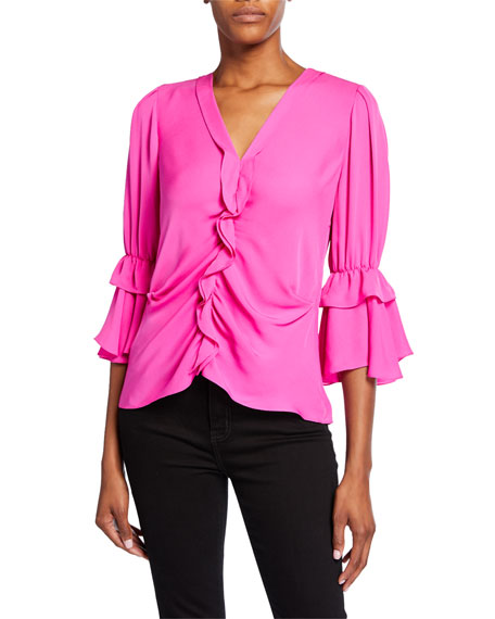 Image 1 of 1: Demy V-Neck 3/4-Sleeve Silk Ruffle Blouse
