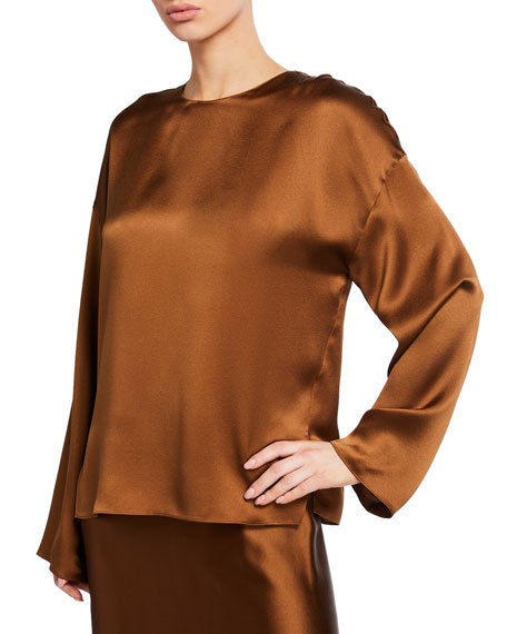 Image 1 of 1: Long-Sleeve Silk Blouse