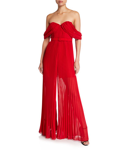 Off-Shoulder Sleeveless Pleated Jumpsuit with Belt