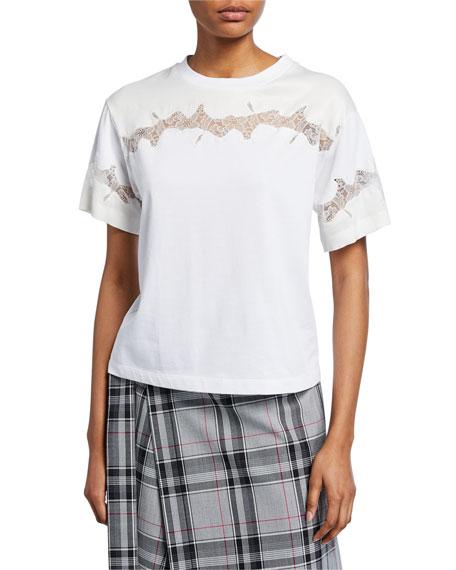Crewneck Short-Sleeve Lace-Inset T-Shirt