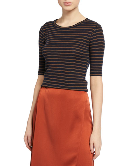 Image 1 of 1: Micro Double-Stripe Crewneck Elbow-Sleeve Tee