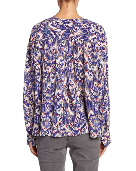 Yacah Printed Split-Neck Silk Blouse