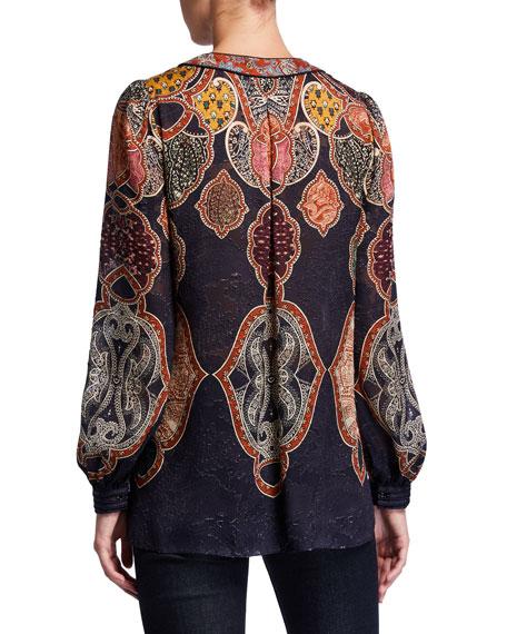 Yosun Printed Tassel-Tie Long-Sleeve Silk Blouse