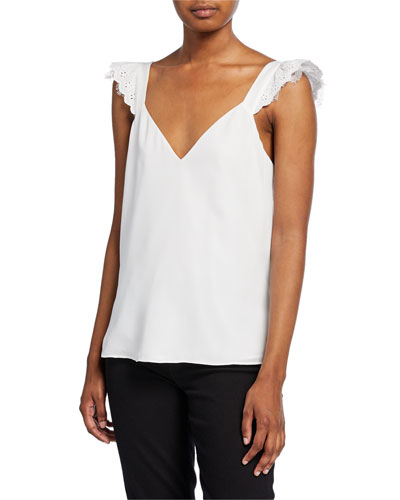 Juliette Silk Tank with Eyelet Straps