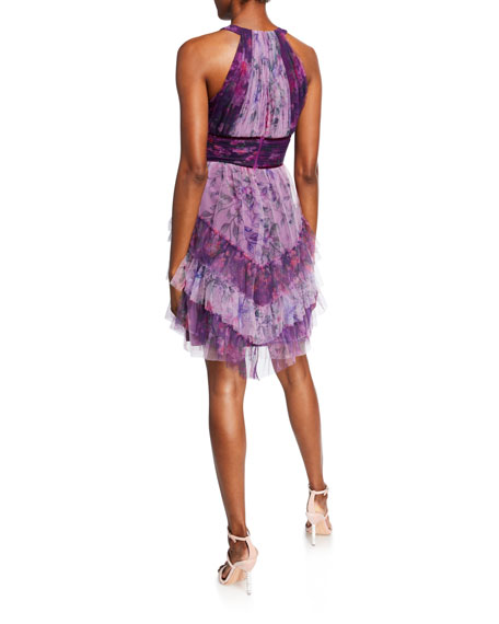Colorblocked Floral-Printed Tulle Dress with Ruffle Skirt Detailing