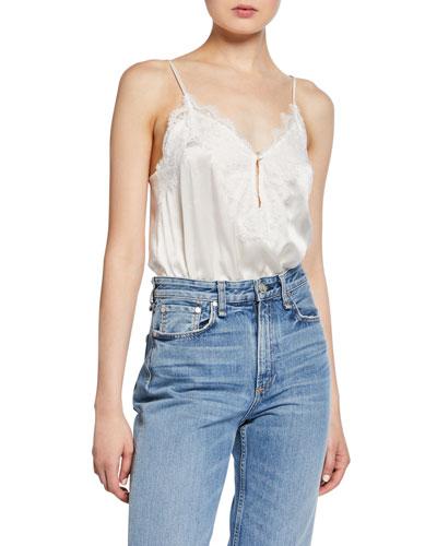 The Iris Spaghetti-Strap Bodysuit  White