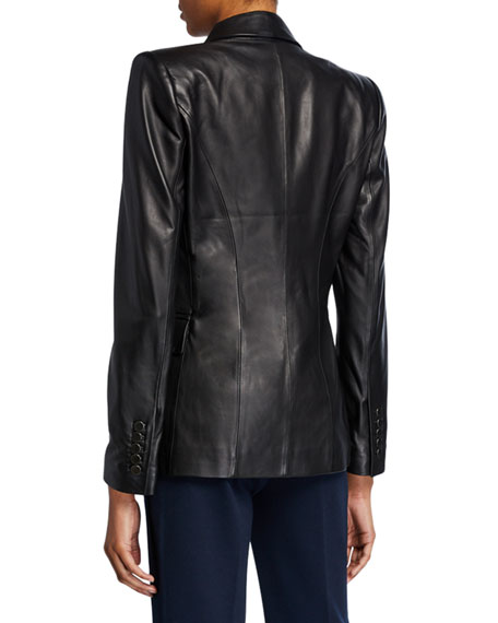 Avery One-Button Leather Jacket