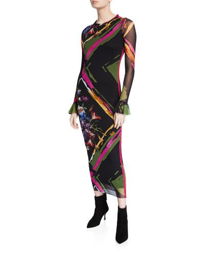 Flower Patchwork Crewneck Long-Sleeve Dress