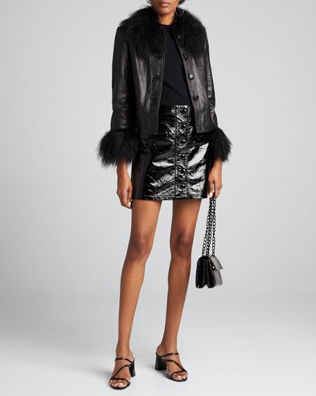 Dorthe Lamb Leather Shearling-Collar & Cuff Jacket