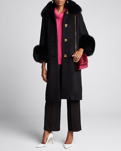 Yvonne Fox Fur-Trim Wool Coat  Black
