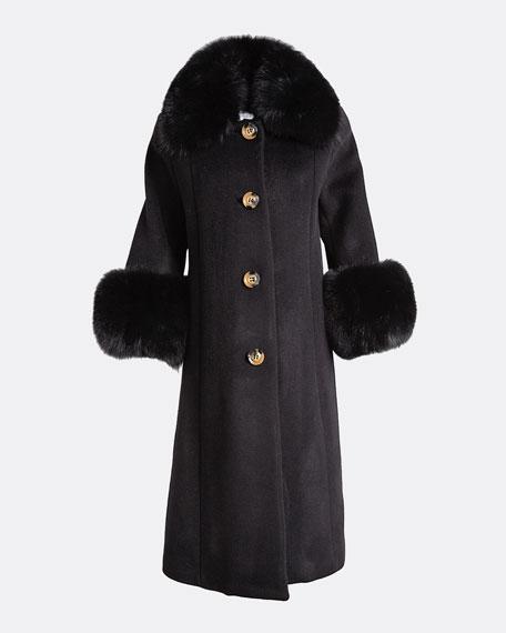 Yvonne Fox Fur-Trim Wool Coat, Black