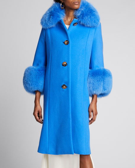 Yvonne Fox Fur-Trim Wool Coat, Blue