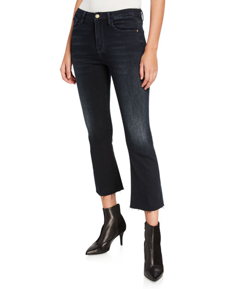 Le Crop Mini Boot-Cut Jeans with Raw Hem