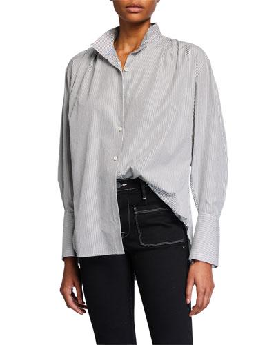 Pleated Clean-Collar Shirt